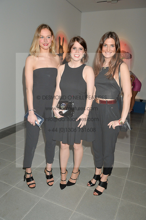Left to right, LIZZY McGREGOR, PRINCESS EUGENIE OF YORK and JULES de BOINVILLE at the Future Contemporaries Party in association with Coach at The Serpentine Sackler Gallery, West Carriage Drive, Kensington Gardens, London on 21st February 2015.