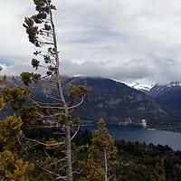 South America, Argentina, Bariloche. Cerro Campanario View of Lakes and Mountains of Bariloche.