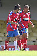 Picture by David Horn/Focus Images Ltd +44 7545 970036.08/09/2012.Dwight Gayle of Dagenham and Redbridge celebrates scoring with team mates during the npower League 2 match at Roots Hall, Southend.