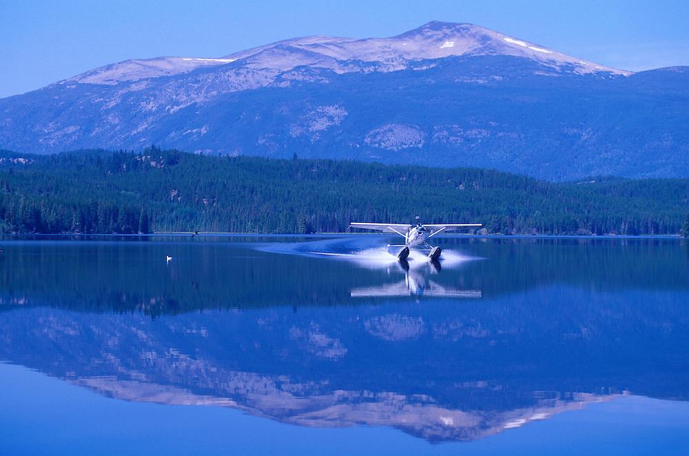 Starting Bush Plane on Clearwater Lake, Chilcotin Country,British Columbia,Canada