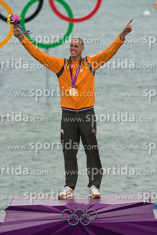 07.08.2012, Bucht von Weymouth, GBR, Olympia 2012, Windsurfen, im Bild Van Rijsselberge Dorian, (NED, RS:X Men) // during Windsurfing, at the 2012 Summer Olympics at Bay of Weymouth, United Kingdom on 2012/08/07. EXPA Pictures © 2012, PhotoCredit: EXPA/ Juerg Kaufmann ***** ATTENTION for AUT, CRO, GER, FIN, NOR, NED, POL, SLO and SWE ONLY!