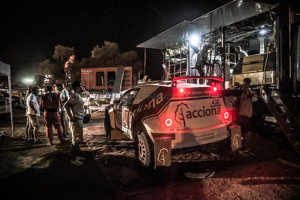 Acciona 100x100 ecopowered,electric car, Marocco rally 2015, day 1