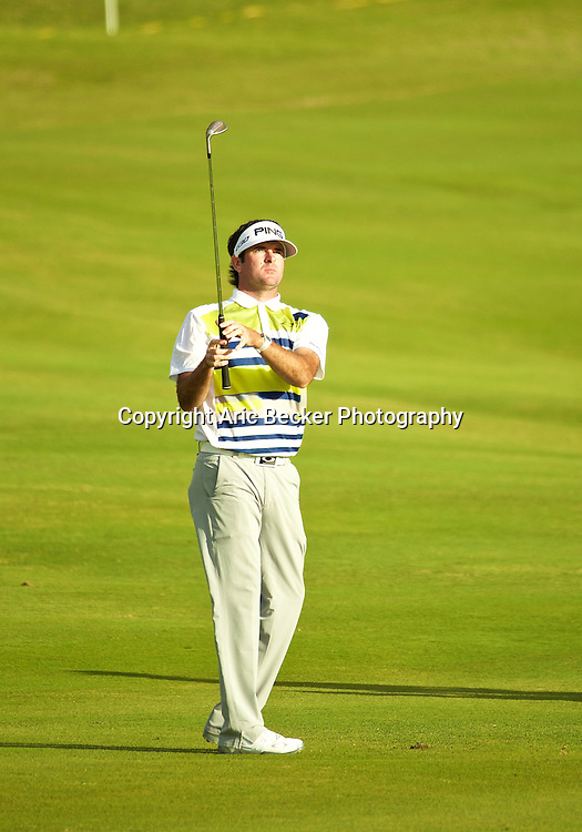 January 09 2015:  Bubba Watson on number eighteen during the First Round of the Hyundai Tournament of Champions at Kapalua Plantation Course on Maui, HI.
