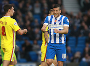 Brighton striker Tomer Hemed shows his frustration after going closew to scoring during the Sky Bet Championship match between Brighton and Hove Albion and Milton Keynes Dons at the American Express Community Stadium, Brighton and Hove, England on 7 November 2015. Photo by Bennett Dean.