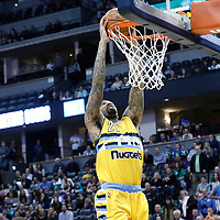 10 March 2017: Denver Nuggets forward Wilson Chandler (21) goes for the dunk during the Denver Nuggets 119-99 victory over the Boston Celtics, at the Pepsi Center, Denver, Colorado, USA.