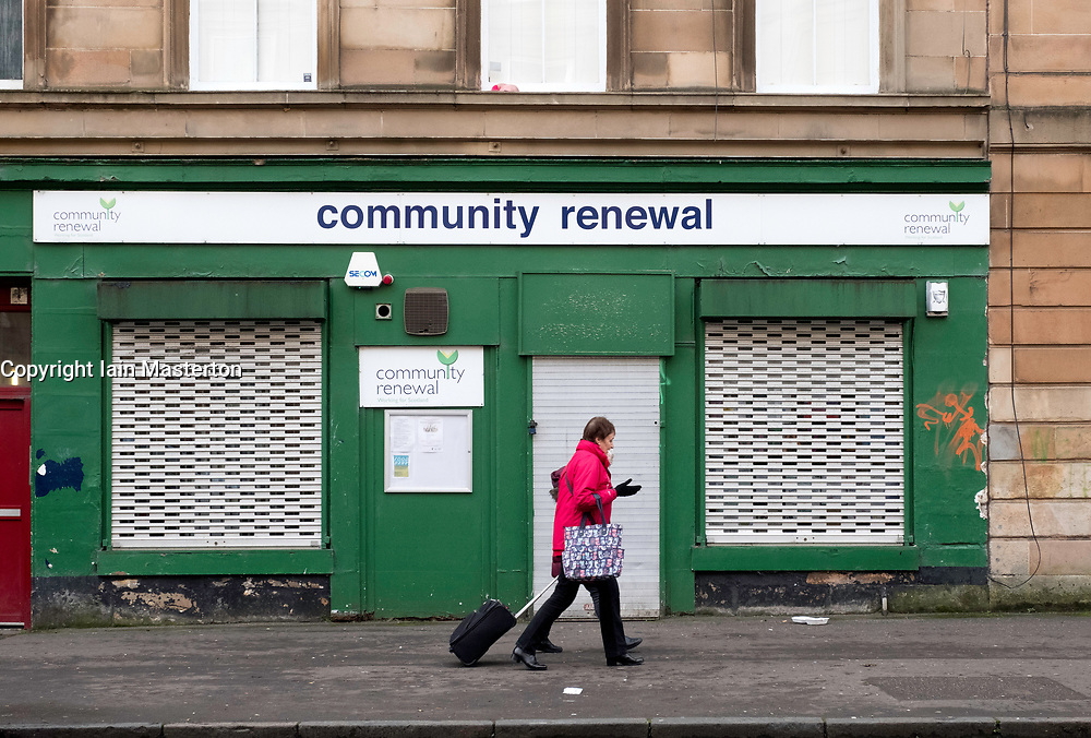 Small shuttered shop, Community renewal,  in Govanhill district of Glasgow, Scotland, United Kingdom.