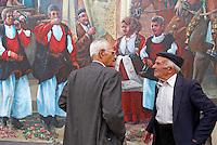 Italie. Sardaigne. Province de Nuoro. Peinture murale dans le village de Fonni. //  Italy. Sardinia. Nuoro province. Wall painting on the village of Fonni.