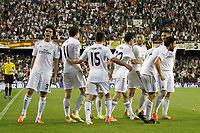 Real Madrid´s Gareth Bale celebrates a goal with his team mates during the Spanish Copa del Rey `King´s Cup´ final soccer match between Real Madrid and F.C. Barcelona at Mestalla stadium, in Valencia, Spain. April 16, 2014. (ALTERPHOTOS/Victor Blanco)