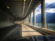 ROAD TRIP: Photographers Georgie Gillard and Rick Findler drove 1,973 miles and through nine countries for a friends wedding in Lake Garda, Northern Italy. Armed only with an iPhone and pushed for time, they decided to document their journey through the windscreen of their car.<br /> Pictured: Lake Garda, Italy.
