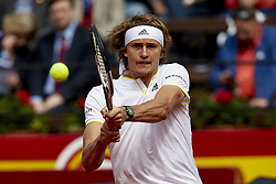 April 6, 2018 - Valencia, Valencia, Spain - Alexander Zverev of Germany in action in his match against David Ferrer of Spain during day one of the Davis Cup World Group Quarter Finals match between Spain and Germany at Plaza de Toros de Valencia on April 6, 2018 in Valencia, Spain  (Credit Image: © David Aliaga/NurPhoto via ZUMA Press)