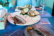 plate after eating an oyster and sea food dish