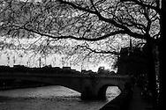 France. Paris. 5th district. pont de la tournelle  on the  Seine river  beetween left bank and ile saint Louis Paris