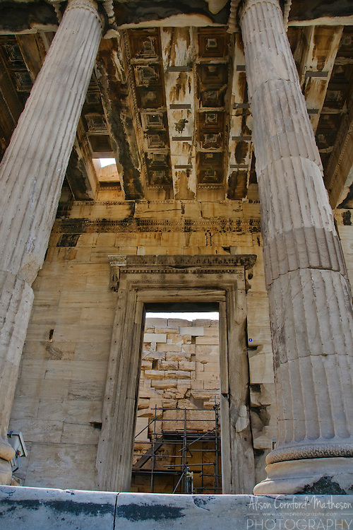 The Erechtheum is an ancient Greek temple on the north side of the Acropolis of Athens in Greece associated with the goddess Athena and famous for the porch of the Caryatids.