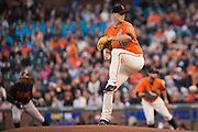 San Francisco Giants starting pitcher Matt Cain (18) pitches against the Baltimore Orioles at AT&T Park in San Francisco, Calif., on August 12, 2016. (Stan Olszewski/Special to S.F. Examiner)