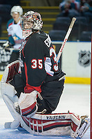 KELOWNA, CANADA - SEPTEMBER 5: Ty Edmonds #35 of Prince George Cougars defends the net against the Kelowna Rockets  on September 5, 2015 during the first pre-season game at Prospera Place in Kelowna, British Columbia, Canada.  (Photo by Marissa Baecker/Shoot the Breeze)  *** Local Caption *** Ty Edmonds;