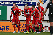 York City defender Dave Winfield scores for York City  during the Sky Bet League 2 match between Mansfield Town and York City at the One Call Stadium, Mansfield, England on 28 December 2015. Photo by Simon Davies.