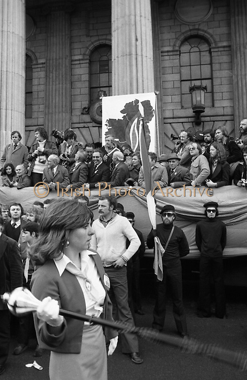Sinn Fein (Provo) Dublin Parade.   K22..1976..25.04.1976..04.25.1976..25th April 1976..Sinn Fein held an Easter Rising Commemorative  parade..The parade started at St Stephens Green, Dublin and proceeded through the streets to the G.P.O.in O'Connell Street, the scene of the centre of the 1916 uprising...Pictured is one of the bands taking part in the parade.