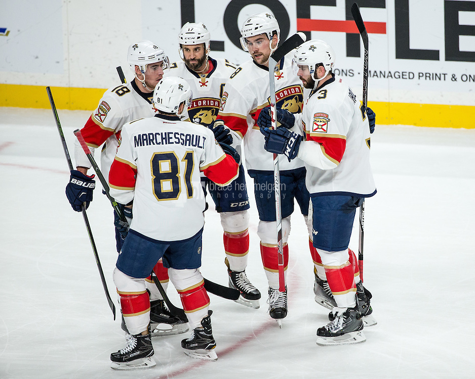 Dec 13, 2016; Saint Paul, MN, USA; Florida Panthers defenseman Dylan McIlrath (8) celebrates his goal with teammates during the third period against the Minnesota Wild at Xcel Energy Center. The Wild defeated the Panthers 5-1. Mandatory Credit: Brace Hemmelgarn-USA TODAY Sports
