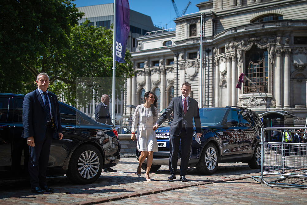 © Licensed to London News Pictures. 23/07/2019. London, UK. Foreign Secretary Jeremy Hunt and his wife Lucia arrive for the result of the Conservative Party leadership race. Boris Johnson has been elected as Leader of the Conservative Party and will become the next Prime Minister. Photo credit: Rob Pinney/LNP
