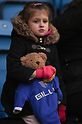 Young Gillingham fan with teddy bear mascot during the EFL Sky Bet League 1 match between Gillingham and Rochdale at the MEMS Priestfield Stadium, Gillingham, England on 13 January 2018. Photo by Martin Cole.