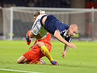 Football - FIFA World Cup Qualifer - Scotland v Macedonia<br /> Scotland's Alan Hutton is sent flying.
