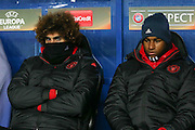 Marouane Fellaini Midfielder of Manchester United and Marcus Rashford Forward of Manchester United on bench during the Europa League match between Zorya Luhansk and Manchester United at Chornomorets Stadium, Shevchenko Park, Ukraine on 8 December 2016. Photo by Phil Duncan.