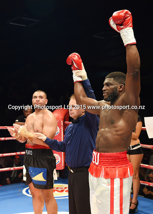 Izu Ugonoh wins over Thomas Peato. Boxing. Burger King Road to the Title, Vodafone Arena, Auckland, New Zealand. Thursday 5 March 2015. Copyright Photo: Andrew Cornaga / www.photosport.co.nz.