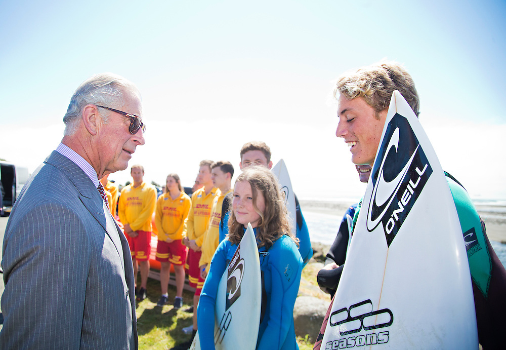 Prince Charles, Prince of Wales meets with surfers after crossing the Te Rewa Rewa Bridge and walking the Coastal Walkway, New Plymouth, New Zealand, New Zealand, Monday, November 09, 2015. Credit:SNPA / Fairfax, Charlotte Curd  **POOL**