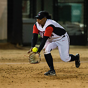 15 February 2018: The San Diego State softball team hosts #25 Kentucky to open up the 28th annual Campbell/Cartier Classic. San Diego State third baseman Iesha Hill (24) is handcuffed by a hard hit ground ball in the fourth inning allowing the Wildcats to get on the board. The Aztecs lost to the Wildcats 5-0.<br /> More game action at www.sdsuaztecphotos.com