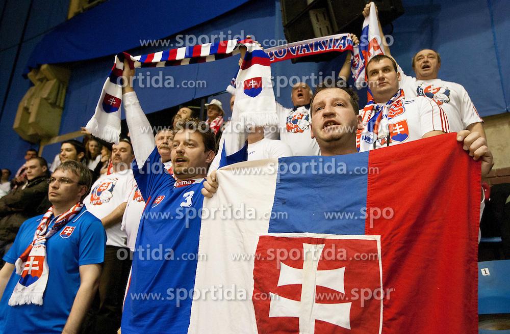 Fans of Slovakia during handball match between Denmark and Slovakia in Preliminary Round of 10th EHF European Handball Championship Serbia 2012, on January 15, 2012 in Arena Pionir, Belgrade, Serbia. Denmark defeated Slovakia 30-25. (Photo By Vid Ponikvar / Sportida.com)