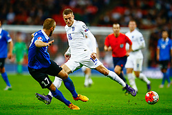 Enar Jaager of Estonia intercepts the ball from Jamie Vardy of England - Mandatory byline: Jason Brown/JMP - 07966 386802 - 09/10/2015- FOOTBALL - Wembley Stadium - London, England - England v Estonia - Euro 2016 Qualifying - Group E