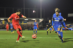 Liverpool's Emre Can takes a shot at goal. - Photo mandatory by-line: Dougie Allward/JMP - Mobile: 07966 386802 - 05/01/2015 - SPORT - football - London - Cherry Red Records Stadium - AFC Wimbledon v Liverpool - FA Cup - Third Round