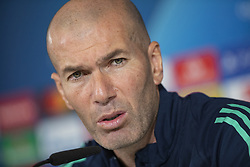 Real Madrid's French head coach, Zinedine Zidane, attends a press conference following a training session of the team at Valdebebas Sports City in Madrid, Spain, 25 November 2019. Real Madrid will face París Sant Germain in a UEFA Champions League group stage soccer match at Santiago Bernabeu stadium on 26 November 2019. Photo by David Jar/Alter Photos/ABACAPRESS.COM