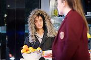 Linda <br /> by Penelope Skinner <br /> directed by Michael Longhurst <br /> at The Royal Court Theatre, London, Great Britain <br /> 30th November 2015 <br /> <br /> <br /> <br /> Karla Crome as Alice <br /> <br /> Imogen Byron as Bridget <br /> <br /> <br /> <br /> <br /> Photograph by Elliott Franks <br /> Image licensed to Elliott Franks Photography Services