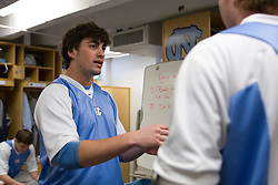 22 March 2008: North Carolina Tar Heels defenseman Brian Burke (5) talkes to defenseman Tim Kaiser (22) in the locker room before playing the Maryland Terrapins at Fetzer Field in Chapel Hill, NC.