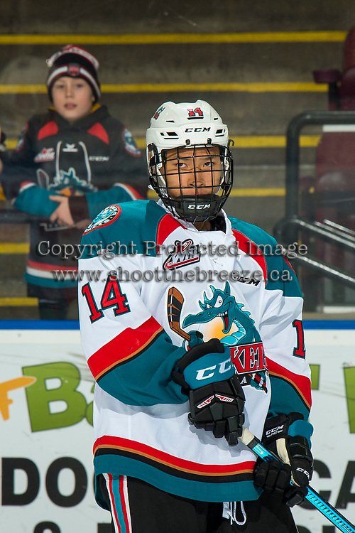 KELOWNA, CANADA - JANUARY 30:  Trevor Wong #14 of the Kelowna Rockets warms up on the ice against the Seattle Thunderbirds on January 30, 2019 at Prospera Place in Kelowna, British Columbia, Canada.  (Photo by Marissa Baecker/Shoot the Breeze)