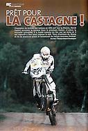 David Casteu dans le mensuel Moto Crampons pour un sujet de 3 pages (Page 1).