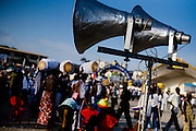 Beat up speakers blare speeches and music during the annual Oguaa Fetu Afahye Festival in Cape Coast, Ghana on Saturday September 6, 2008.