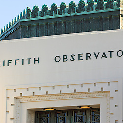 Griffith Observatory sign in Friffth Park, Los Angeles, California.