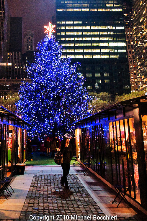 NEW YORK, NY - December 10:  Bryant Park during the holiday winter season, in Manhattan on December 10, 2010 in NEW YORK, NY. THe park is a public park of the City of New York and a New York City Scenic Landmark (Photo by Michael Bocchieri/Bocchieri Archive)