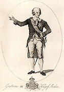 Gustavus III (1746-1792) king of Sweden from 1771.  Assassinated at a masked ball.  The libretto for Verdi's opera 'Un Ballo in maschera' (A Masked Ball) was based on the assassination. 18th century engraving.
