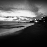 San Clemente California beach black and white photo. San Clemente is a popular coastal city in Orange County in Southern California in the United States of America. Photo is high resolution. Copyright ⓒ 2017 Paul Velgos with All Rights Reserved.
