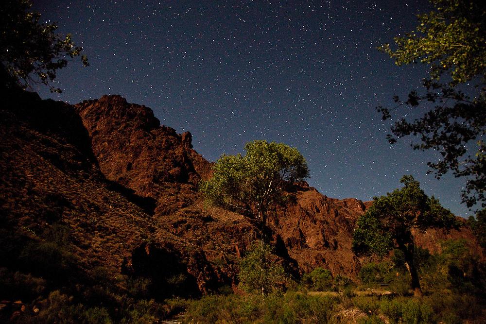 Grand Canyon Stone wall at Cottonwood Ranch at Night