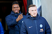 Peterborough Utd forward Ivan Toney (17) and Peterborough Utd midfielder Joe Ward (15) arriving in the stadium before the EFL Sky Bet League 1 match between Doncaster Rovers and Peterborough United at the Keepmoat Stadium, Doncaster, England on 9 February 2019.