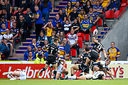 Hull FC centre Carlos Tuimavave (3) scores a try and celebrates to make the score 10-12 during the Challenge Cup 2017 semi final match between Hull RFC and Leeds Rhinos at the Keepmoat Stadium, Doncaster, England on 29 July 2017. Photo by Simon Davies.