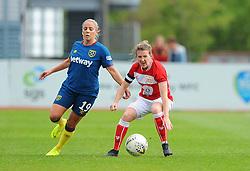 Frankie Brown of Bristol City competes with Adriana Leon- Mandatory by-line: Nizaam Jones/JMP - 28/04/2019 - FOOTBALL - Stoke Gifford Stadium - Bristol, England - Bristol City Women v West Ham United Women - FA Women's Super League 1