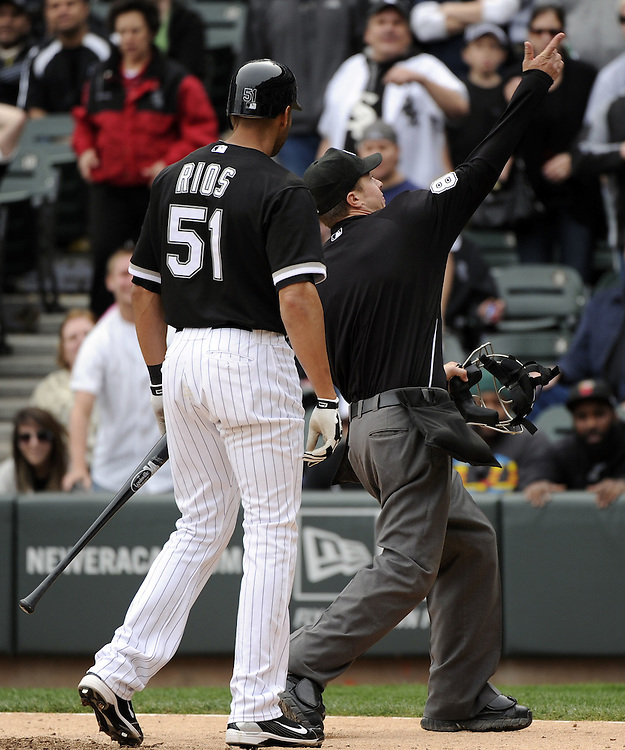 CHICAGO - MAY 01:  Alex Rios #51 of the Chicago White Sox is ejected from the game by home plate umpire Cory Biaser #89 in the ninth inning against the Baltimore Orioles on May 01, 2011 at U.S. Cellular Field in Chicago, Illinois.  The Orioles defeated the White Sox 6-4.  (Photo by Ron Vesely)  Subject:   Alex Rios;Cory Biaser