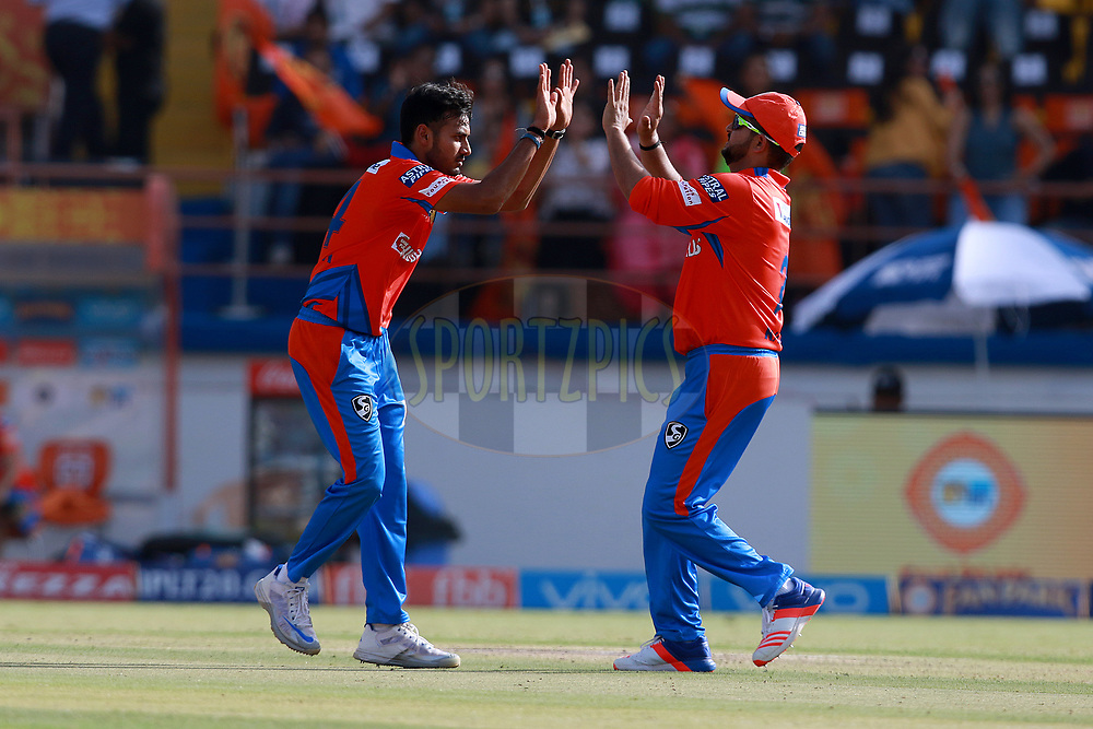 Shubham Agarwal of GL celebrates after takes a wicket of Hashim Amla of KXIP during match 26 of the Vivo 2017 Indian Premier League between the Gujarat Lions and the Kings XI Punjab held at the Saurashtra Cricket Association Stadium in Rajkot, India on the 23rd April 2017<br /> <br /> Photo by Rahul Gulati - Sportzpics - IPL