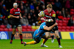 Saracens Winger (#14) David Strettle is tackled by Wasps Scrum-Half (#9) Charlie Davies during the second half of the match - Photo mandatory by-line: Rogan Thomson/JMP - Tel: Mobile: 07966 386802 04/11/2012 - SPORT - RUGBY - Vicarage Road - Watford. Saracens v London Wasps - Aviva Premiership