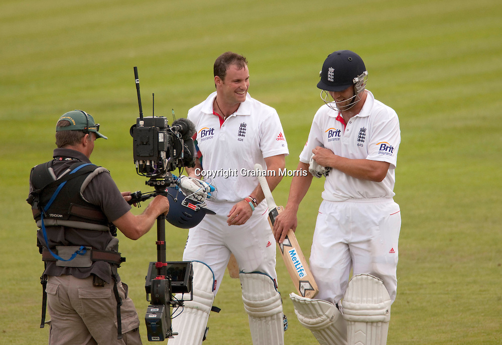 Captain Andrew Strauss (left) and Jonathan Trott celebrate after winning the second npower Test Match between England and Pakistan at Edgbaston, Birmingham. Photo: Graham Morris (Tel: +44(0)20 8969 4192 Email: sales@cricketpix.com) 09/08/10